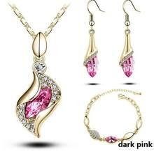 Top Qualität Elegante luxus neue mode Silber überzogene bunte Österreichischen kristall Halskette Ohrringe Armband schmuck sets frauen(China)