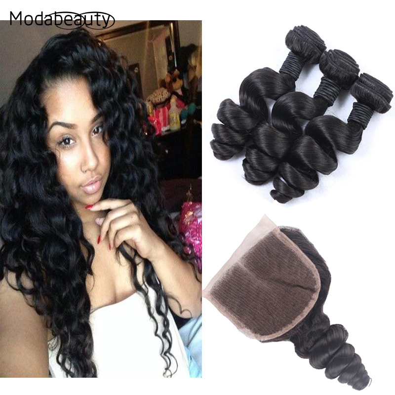 6A Virgin Human Hair Lace Closure With Bundles Peruvian Hair With Closure 3Pcs Hair Bundles With Closure Peruvian Body Wave<br><br>Aliexpress