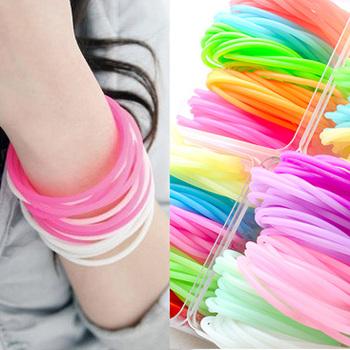 Wholesale! 100Pcs/LOT STAR Fashion bracelet rubber hand ring rubber band headband hairband fluorescent light elastic head band