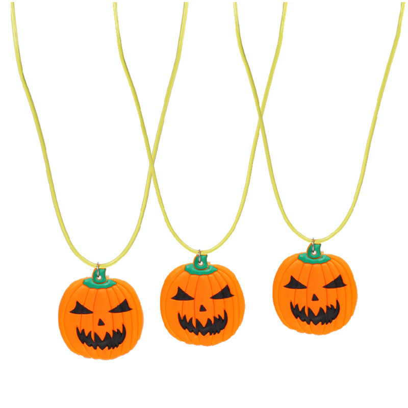 Kids light up pendant toy LED pumpkin necklace Glowing cartoon halloween Necklace Festiveal Party decoration Supplies 100pcs/lot(China (Mainland))