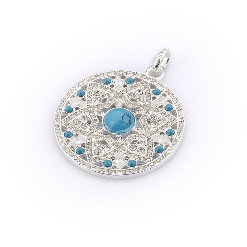 TS Blue Flowers Disc Pendant,Thomas Style Glam And Soul 925 Sterling Silver Jewelry Gift,Style:Classic,Gender:Women(China (Mainland))