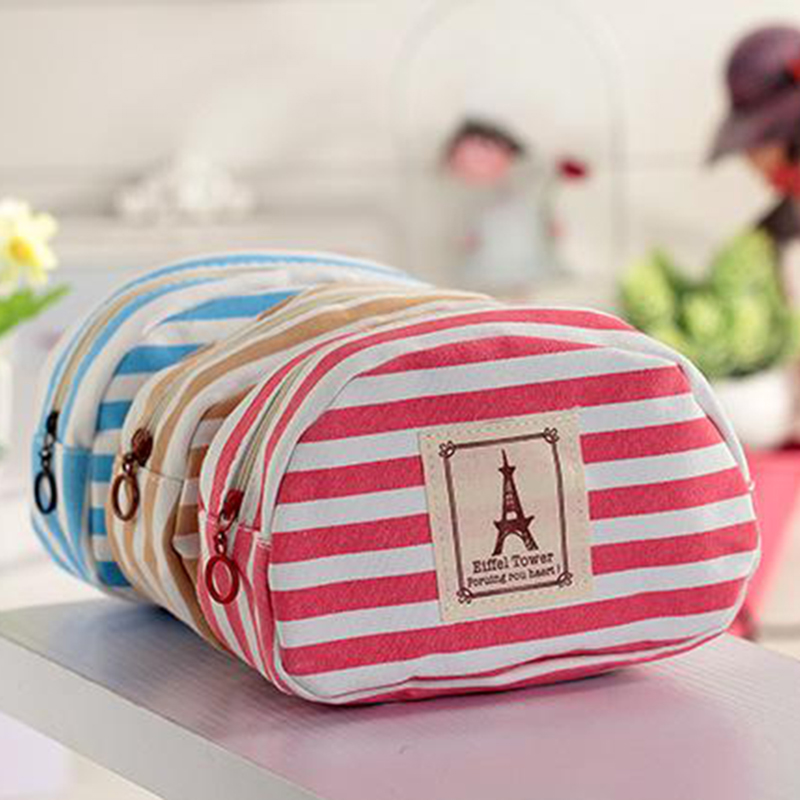 Women portable navy style canvas large-capacity Beauty ZipperTravel Cosmetic Makeup Case Toiletry Pouch child students Pen bag<br><br>Aliexpress