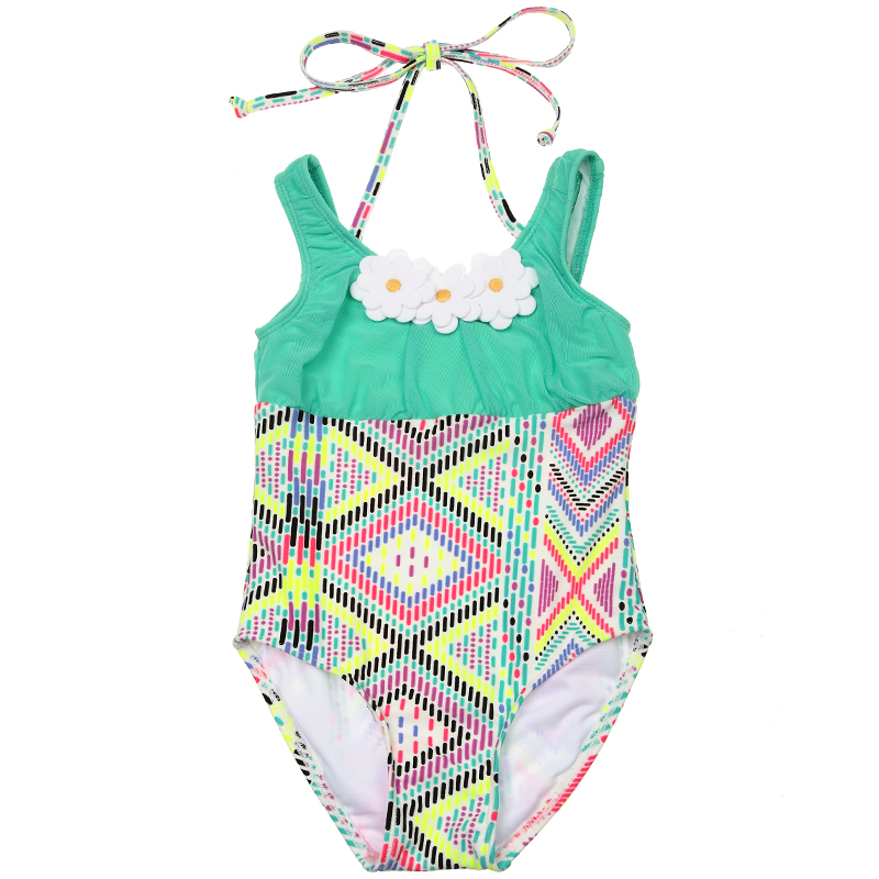 girl's swimwear Hot spring child female one piece green elegant