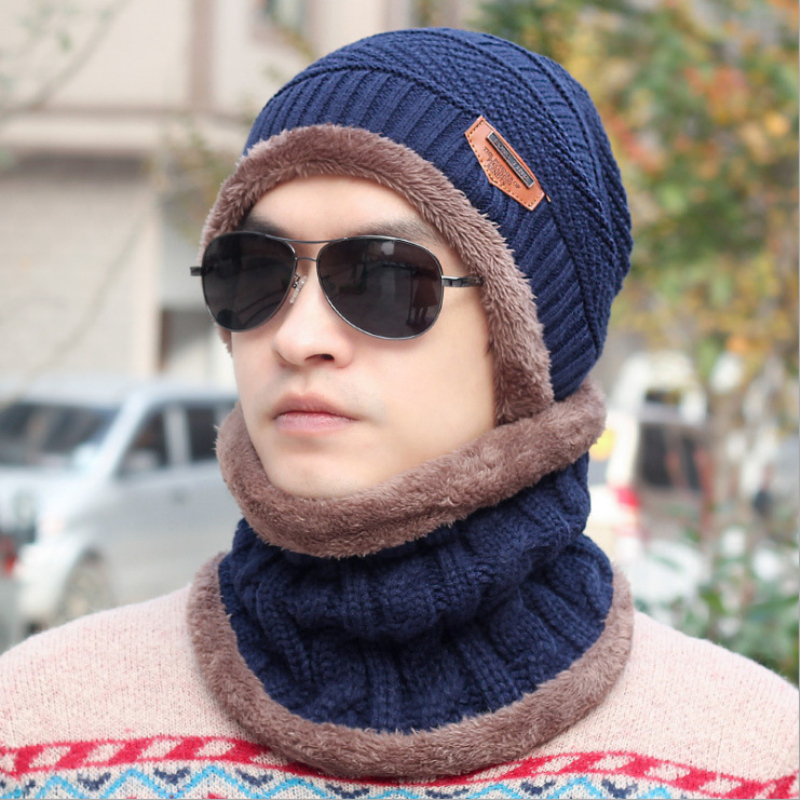 HT770 Brand Beanies Knit Men's Winter Hat Cap Skullies Bonnet Winter Hats For Men Beanie Warm Baggy Knitted Hat and Scarf Set(China (Mainland))