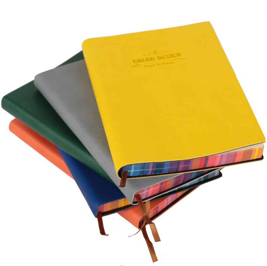 2016 New Office Supplies Rainbow Color Leather Cover Notebook Business A5 Notepad Creative Thick Notebook Office School Supplies(China (Mainland))