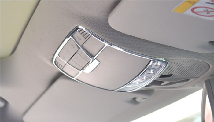 Chrome ABS Auto Roof buttons decorative frame Glasses box trim Car styling 3D sticker for Mercedes Benz GLC,New C class W205(China (Mainland))