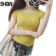 New Arrival Hot Selling Korean Preppy Style Women Summer Short Sleeve Casual Tops Cute Sweet Yellow White Black Crop Sweater (China (Mainland))