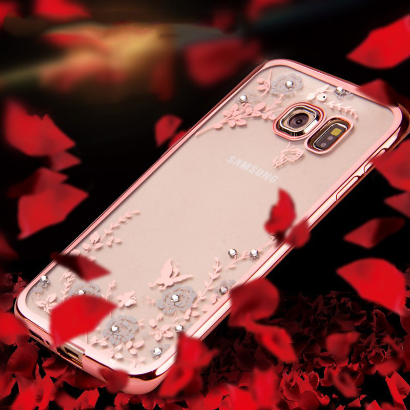 Flowers plating with Bling Diamond Rhinestone Soft TPU Case For Samsung Galaxy S7 edge s6 edge plus note 7 5 rubber Back Covers(China (Mainland))