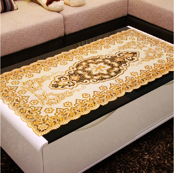 European style hollowed-out gilding PVC table cloth gold white tablecloth waterproof oilproof heatproof table cover 40*84cm(China (Mainland))