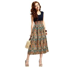 WJ Hot Selling Delicate 2016 Summer Style Women Flower Floral Print Bohemia Sleeveless Vest Long Beach Dress for Ladies(China (Mainland))