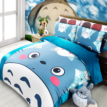 Coral Fleece Thick Bedding Sets 3D Reactive Printing blue lovely Totoro Beds Bed Sheet Set Duvet Cover 3/4PC Beddings Set(China (Mainland))