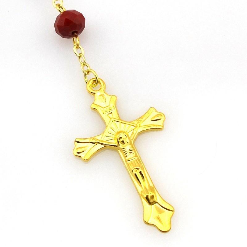 Новая Богиня CR036 Христа Бог Иисус Католические Четки 6 мм * 8 мм Фарфор Красный Кристалл Католической Roarios 18 К Позолоченные