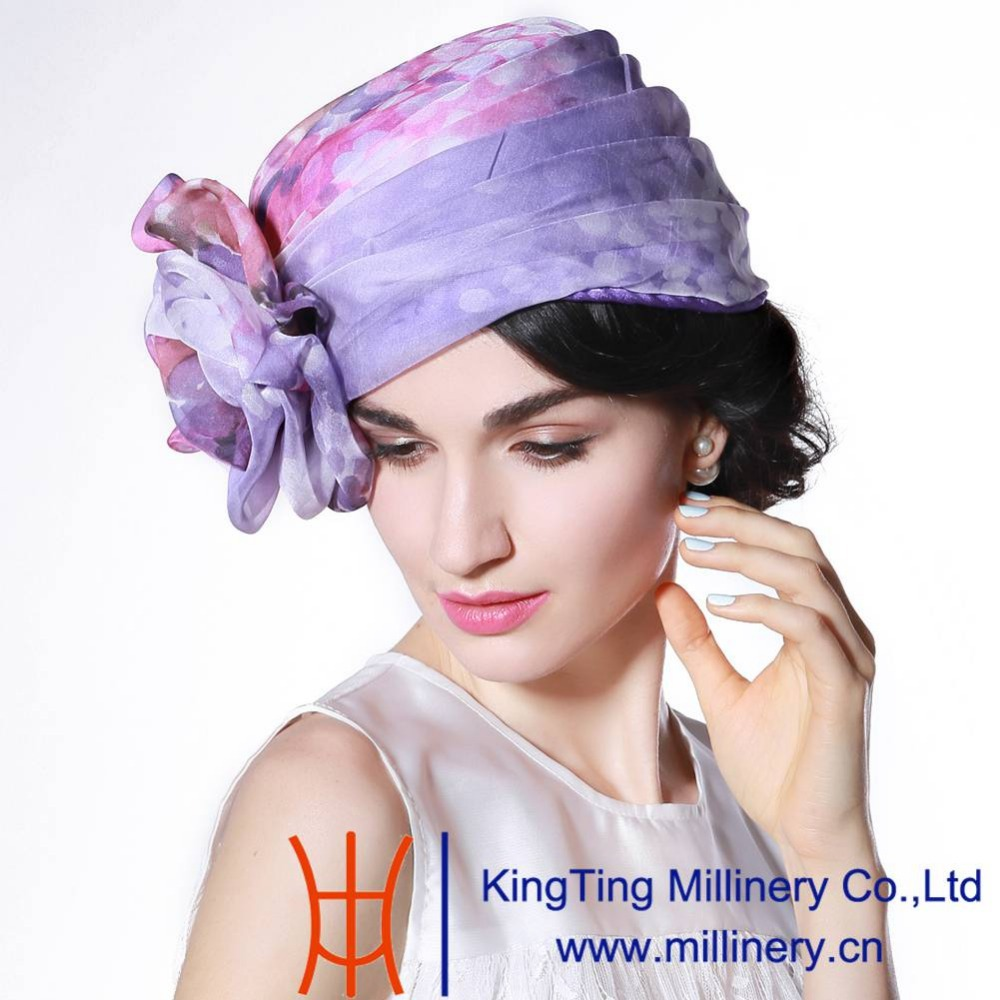 June'syoung Hot Sale 2015 Fashion New Summer Silk Hat for Women 100% Silk Floral Pattern Purple and Pink Colors Lady Casual Hats(China (Mainland))