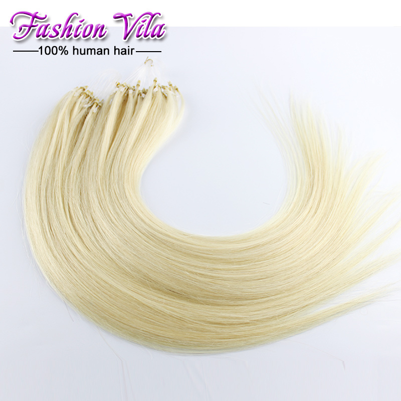 micro ring loop hair extensions Brazilian virgin hair straight 1g/strand 100 strands/lot 18-26 inch #613 #1b/natural black(China (Mainland))