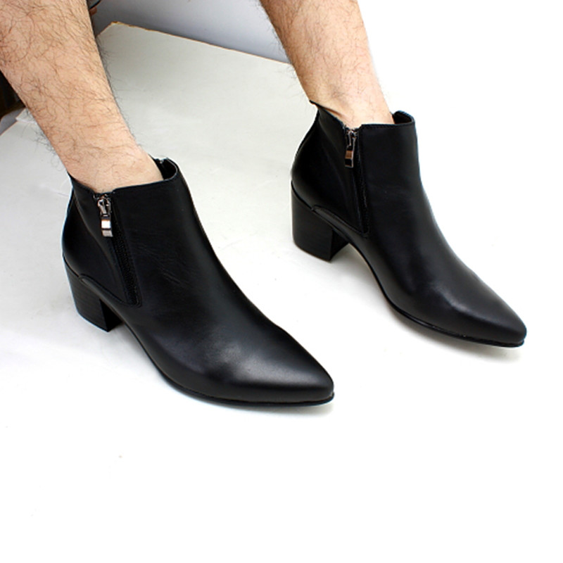 Mens Leather Cuban Heel Shoes