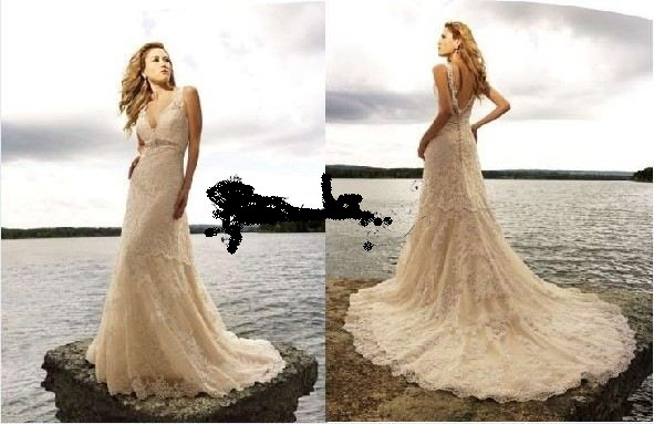 Pics for cream lace wedding dress with sleeves for Cream colored lace wedding dresses