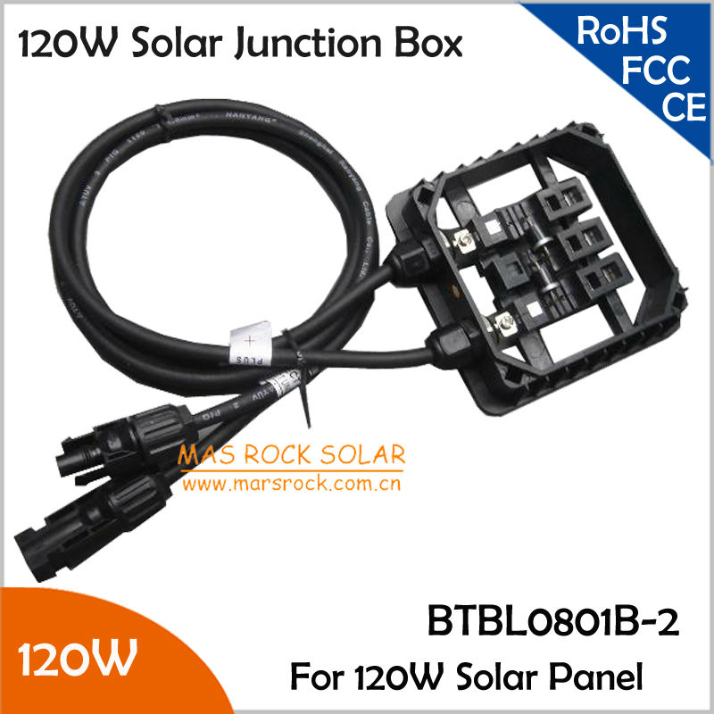 5pcs/Lot Wholesale 120W Solar Junction Box, Waterproof, with 2 Diodes(10SQ050), MC4 Connector, 90cm Cable, for 120W Solar Panel(China (Mainland))