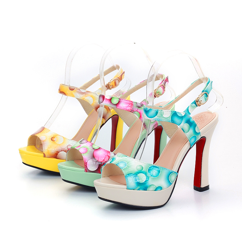 2016 Women Fashion Printing Color Dot Peep Toe Ankle-Buckle High Heel Sandals Lady Sweet Party T Show Sandals 689-3<br><br>Aliexpress