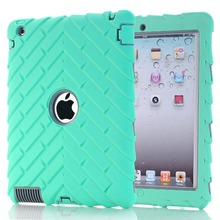 Shockproof Dropproof Kids Protector Case PC + Silicone Tyre Striped Heavy Duty Armor Case Cover For Apple ipad2/3/4 Shell+ Gifts(China (Mainland))