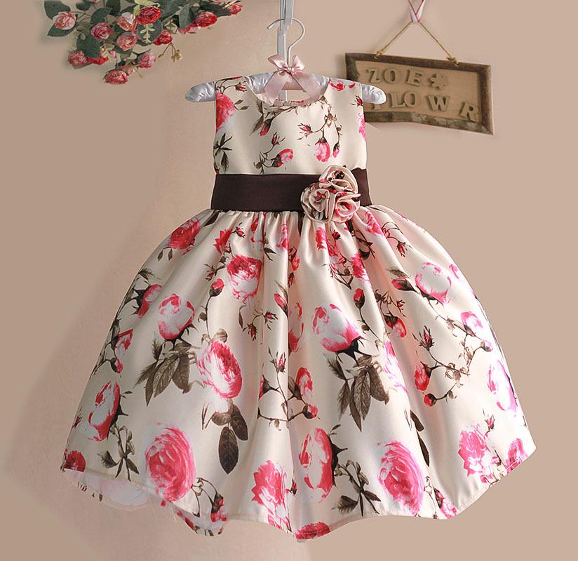 New 2015 Girls Summer Dress Rose Floral Tribute Silk Kids Dresses for Girls Birthday Party Size 1-6T vestidos infantis(China (Mainland))