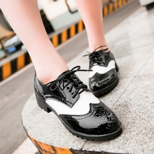 Casual round toe patent leather lace oxfords non-slip low heel 4 cm top size womens shoe ankle shoes woman