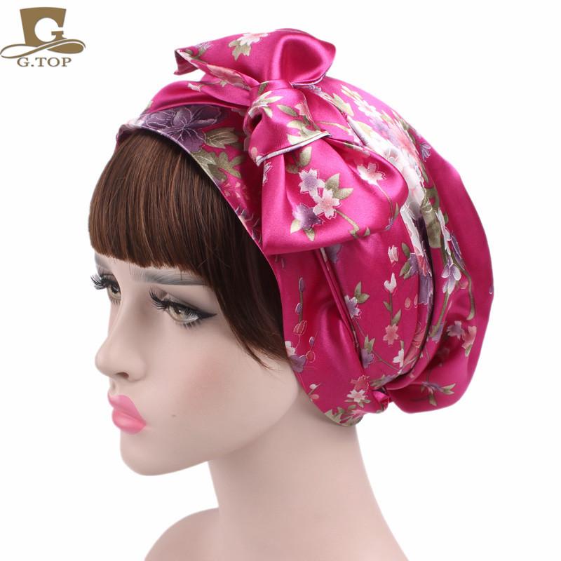 NEW Satin bow headscarf comfortable sleeping bonnet curly hair wrap womens silk head scarf head wrap cap(China (Mainland))