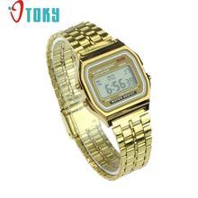 Hot hothot Womens Men Watch Stainless Steel Digital Alarm Stopwatch Classic Silver Gold WristWatch Men nv2 Dropshipping(China (Mainland))