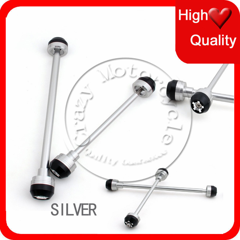 Фотография Fit For Yamaha YZF 1000 R1 YZFR1 2009 2010 2011 2012 Front Rear Axle Fork Crash Sliders Cap Silver Motorcycle Falling Protection