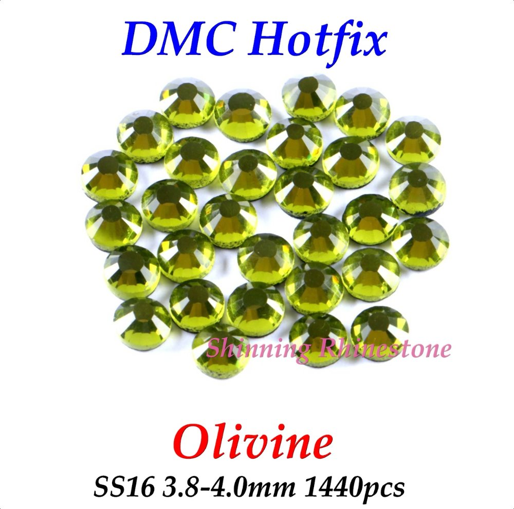 DMC Olivine SS16 3.8-4.0mm Glass Crystals Hotfix Rhinestone Iron-on Rhinestones Shiny DIY Garment Bag With Glue(China (Mainland))