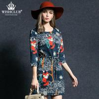 WISHCLUB 2015 Vintage Floral Print Women Dress Autumn Spring Casual Loose Female O-Neck Dresses Three Quarter Dress Vestidos
