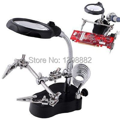 LED LIGHT Soldering Iron Stand Clamp Clip Helping Hand Magnifying Circuit Board(China (Mainland))