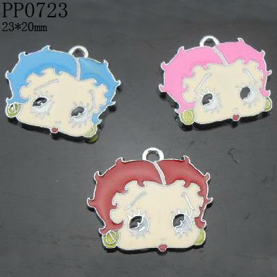 20mm Enamel Zinc Alloy Betty Boop Charms Pendants,Free Shipping Wholesale and Retail,Mixed Color 50pcs/lot