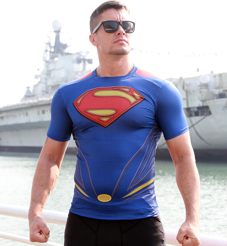Superman T-Shirt Man Steel GYM Bodybuilding Lycra Tees Workout Fitness Jersey Top Short Sleeve - Online Store 939240 store