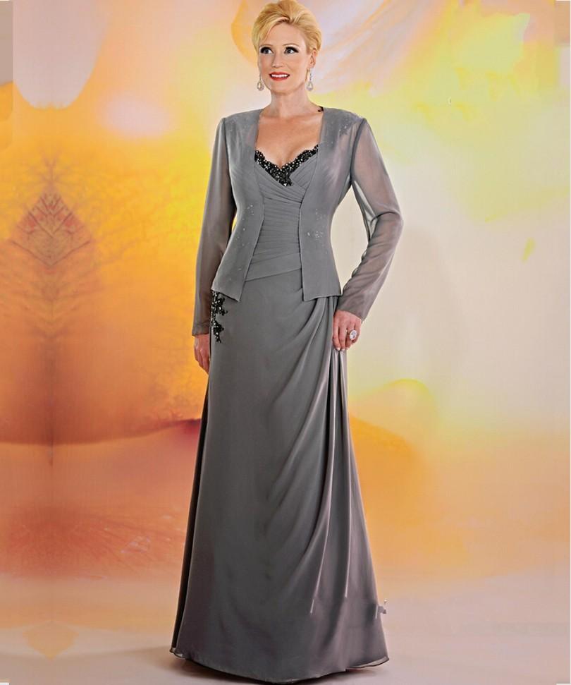 элегантный серый шифон мать невесты платья кружева крестная мать платье вечера партии мать жениха официальные платья для свадебных 03201