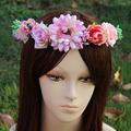 Newest fresh 6 Flower wreath headdress flower head ornaments bride bridesmaid hair accessories wreath holiday gift