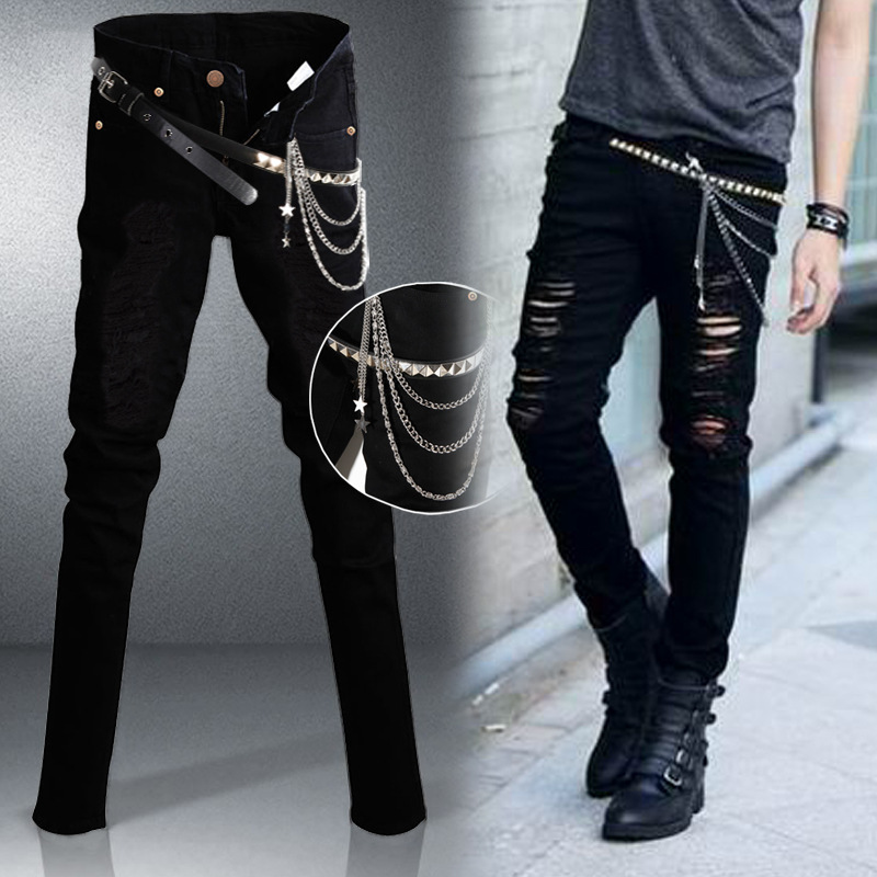2015 Hot-selling Jeans Men's Skinny Ripped Slim Fit Size 28-34 male J058 - Fast Eastern Trading store