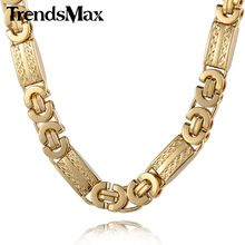 Buy Trendsmax 11mm Mens Chain Necklace Gold-color Byzantine Link Stainless Steel Necklace KN272 for $7.99 in AliExpress store