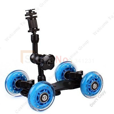 2 in 1 Tabletop Rolling Dolly Camera Car Truck Skater Rig + 7 Inch Adjustable Articulating Magic Arm For all DSLR camera(China (Mainland))