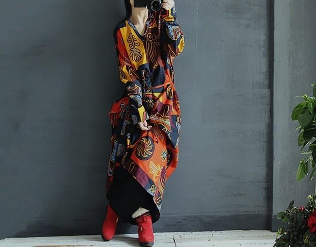 Original Design 2015 national ethnic Print Gothic long summer dress PLUS SIZE Bohemian /gypsy  Maxi Linen Dress  vestido robe(China (Mainland))