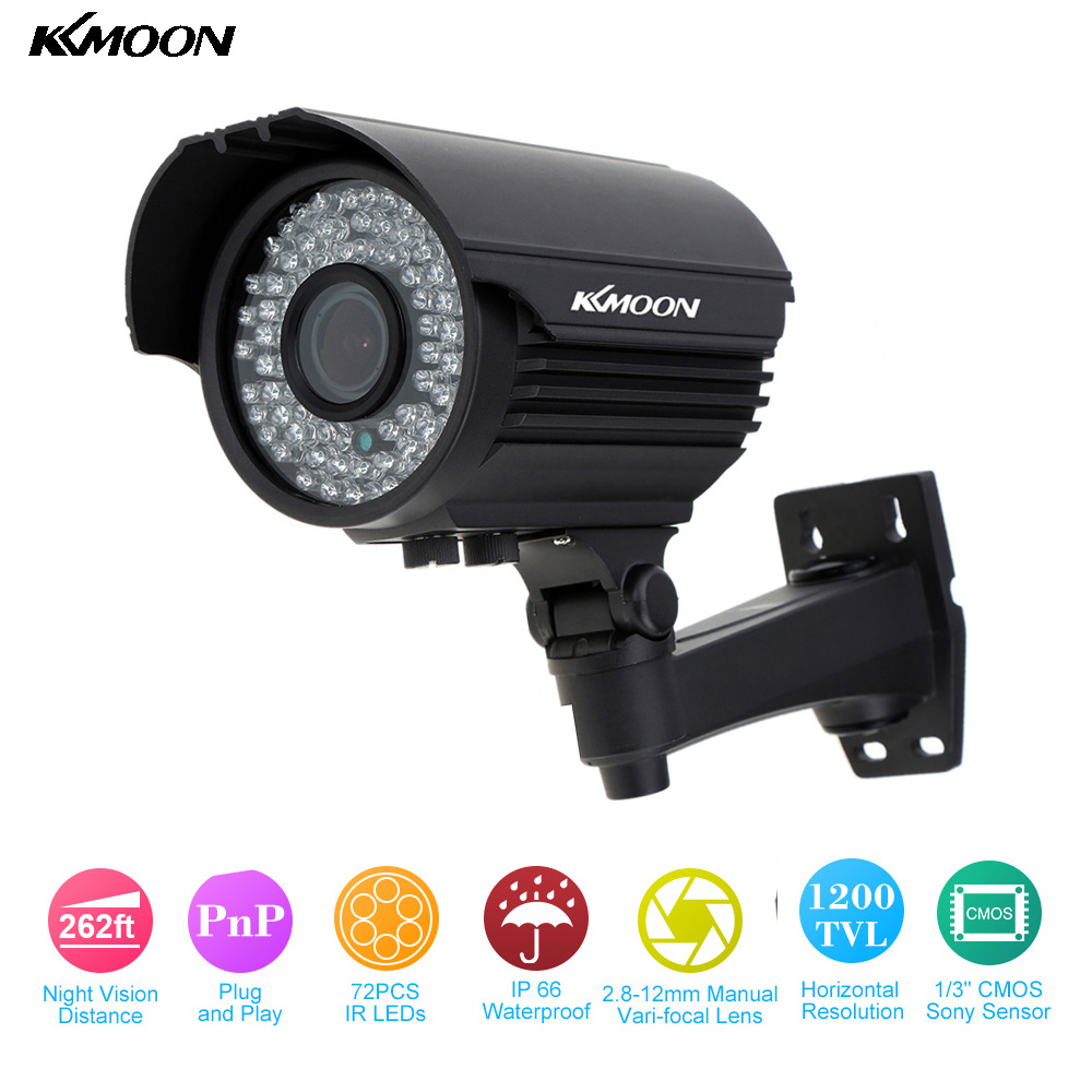 KKMOON Waterproof HD 1200TVL CCTV Camera 72 IR LEDs 2.8~12mm Zoom Varifocal Security Camera Outdoor IR-CUT Surveillance Camera(China (Mainland))