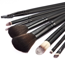 Professional 9 PCS Cosmetic Facial Make up Brush Kit Wool Makeup Brushes make-up Tools Set With Black Leather Case