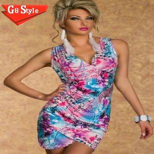 2015 N121# 2015 summer new club fashion sexy models sleeveless deep V summer print dress dresses sexy clubbing(China (Mainland))