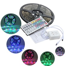 Big Promotion 5M 3528 SMD RGB 300 LED Strip Flexible Waterproof Light with 44key Remote Controller DC12V(China (Mainland))