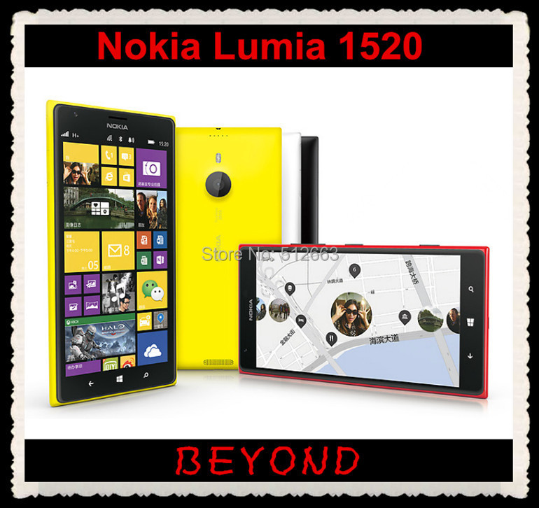 Original Unlocked Nokia Lumia 1520 GSM 3G&4G Windows Mobile Phone 8 Quad-core 2G RAM 6.0'' 20MP WIFI GPS 32GB Dropshipping(China (Mainland))