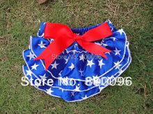 Hot Sale Baby Bloomers Blue White Star Red Bow Satin Bloomer for Children Wholesale KP-SB012(China (Mainland))