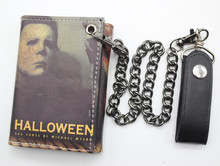 Movie Halloween cartoon purse men women student leather wallet Threefold erect wallet Vertical Purses with metal chain(China (Mainland))
