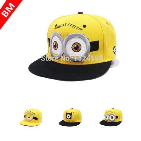 2015 Fashion Baseball Cap God Steal Dads Film Yellow Minions Flat Along Snapback Hip-hop Hat for Boy And girls Canvas(China (Mainland))