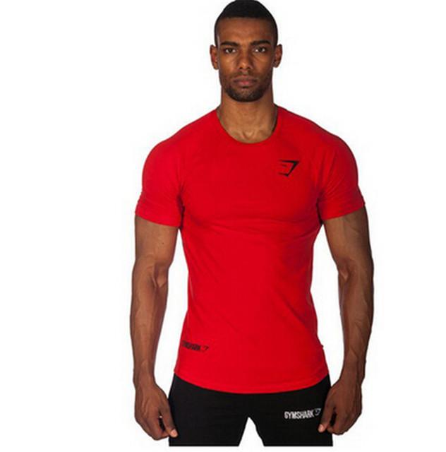 2015 Gymshark camiseta de algodón gym hombre culturismo y fitness shirt hombres de ropa deportiva hombres