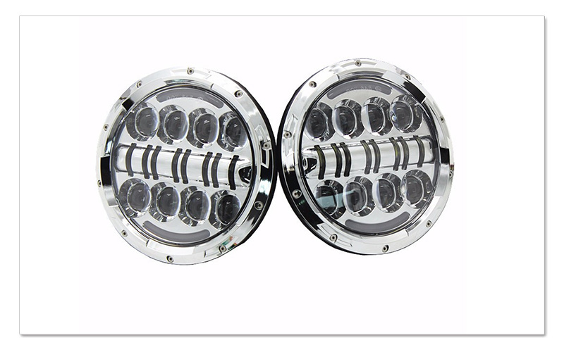 7 inch 80W Round LED Headlights High&Low Beam with Angel EyeAmber Turn Signal light for Jeep Wrangler JK LJ CJ Hummer H1 H2  (10)