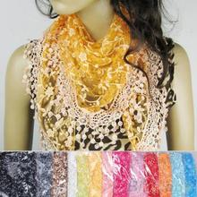 Fashion Hollow Tassel Lace Rose Floral Knit Triangle Mantilla Scarf  Women Shawl Wrap scarves 1ON4 2KC2(China (Mainland))